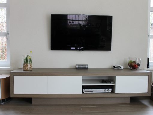 Design tv meubel met eiken omlijsting